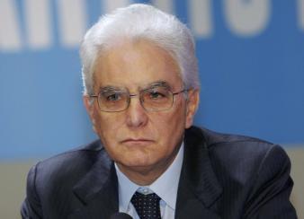 Sergio Mattarella attends a meeting in Rome